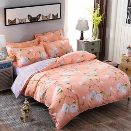 Vivilinen White Mangnolia Printed Polyester 4-Piece Bedding Sets/Duvet Covers
