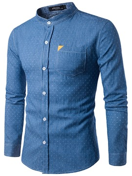 Ericdress Stand Collar Long Sleeve Denim Men's Shirt