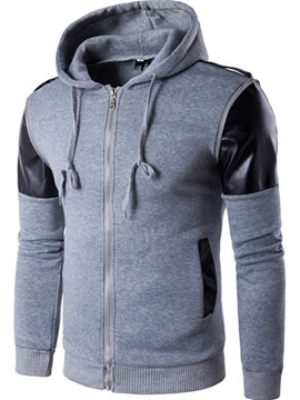 Ericdress Zip Hood Patched Men's Hoodie