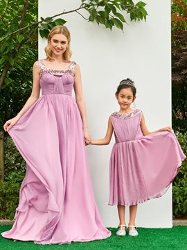 Ericdress A Line Sequin Straps Pleats Long Parent-Child Evening Dress