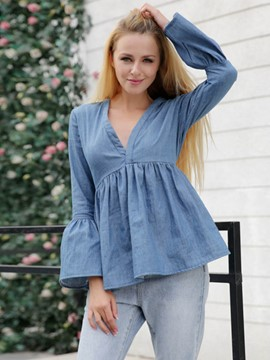 Ericdress V-Neck Plain Lantern Sleeve Blouse