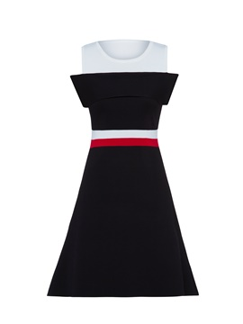 Ericdress Color Block Cold Shoulder A-Line Dress