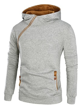 Ericdress Unique Oblique Zip Patched Casual Men's Hoodie