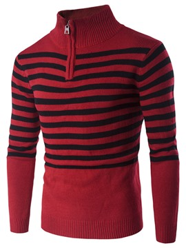 Ericdress Half Zip Stripe Pullover Men's Sweater