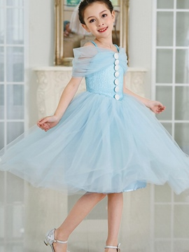 Ericdress Buttoned Suspender Bubble Princess Girl's Dress