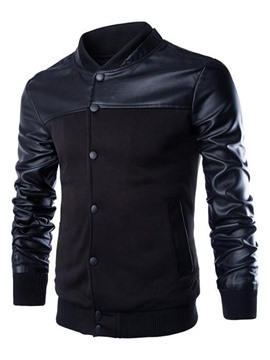 Ericdress Stand Collar Leather Patchwork Slim Men's Jacket