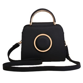 Ericdress Korean Style Solid Color Circular Ring Design Crossbody Bag