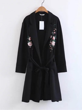 Ericdress Floral Embroidery Lace-Up Trench Coat