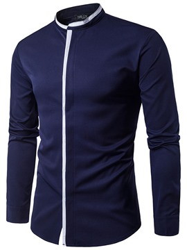 Ericdress Patched Long Sleeve Stand Men's Shirt
