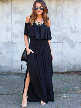 Ericdress Slash Neck Ruffles Backless Maxi Dress