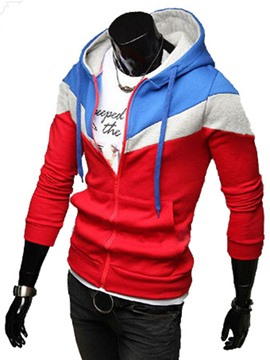 Ericdress Patchwork Zipper Slim Fit Vogue Men's Leisure Hoodie