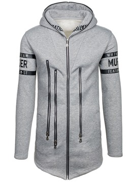 Ericdress Letter Print Unique Zip Patched Casual Slim Men's Hoodie
