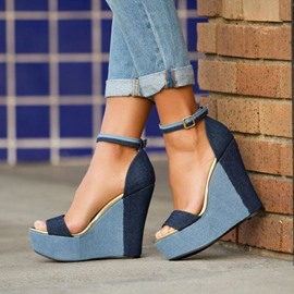Platform Color Block Wedge Sandals