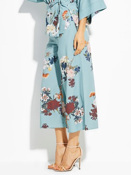 Ericdress Loose Flower Print Wide Legs Women's Pants