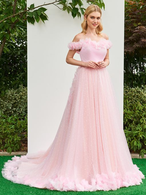 Ericdress Off The Shoulder 3D Flowers Pink Wedding Dress