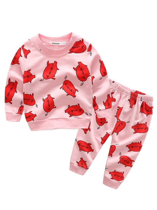 Ericdress Cut Pig Printed Long Sleeve And Pant Fall Baby Girls Outfit