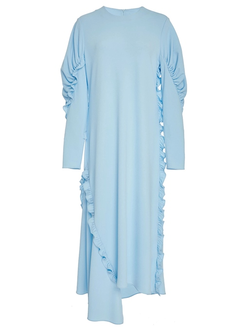 Ericdress Pleated Long Sleeves Asymmetric Ruffled Maxi Dress