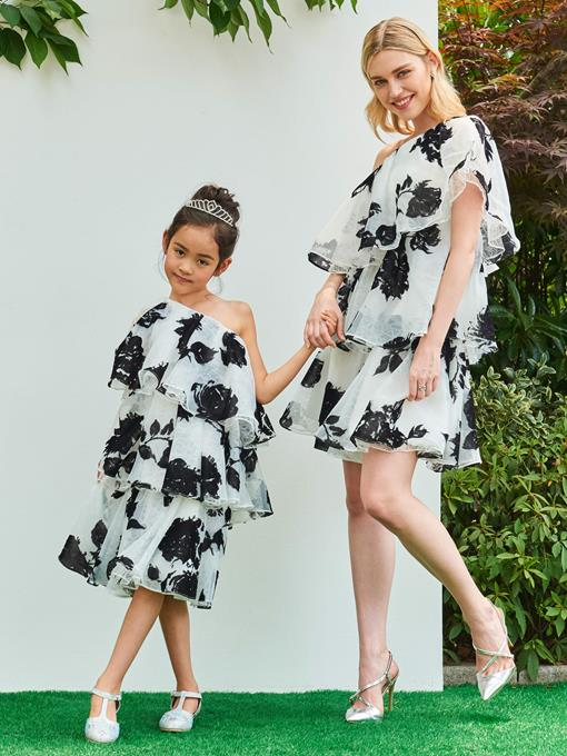 Ericdress One Shoulder Tiered Print Knee Length Girl Party Dress