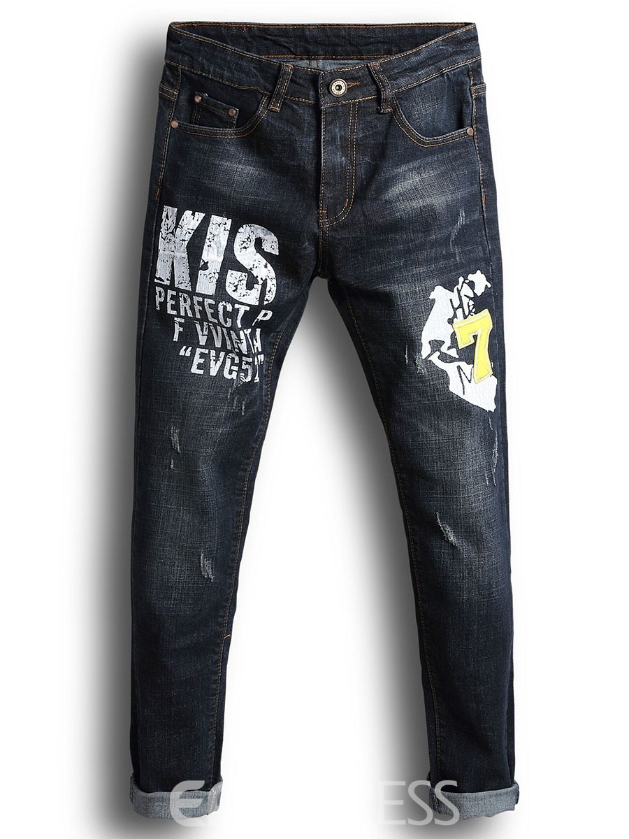 Ericdress Print Patched Vogue Casual Mens Jeans