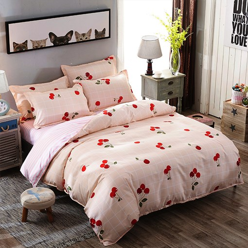 Vivilinen Pink Plaid and Cherry Prints Polyester 4-Piece Bedding Sets/Duvet Covers