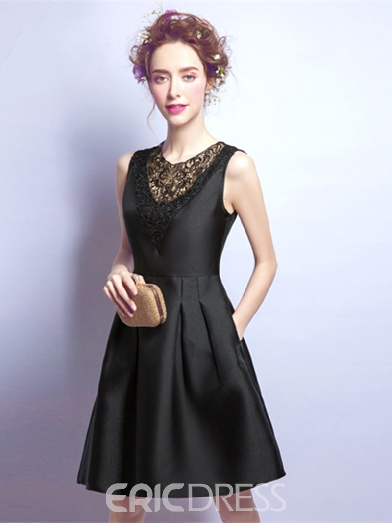 Ericdress A Line Short Black Knee Length Short Homecoming Dress