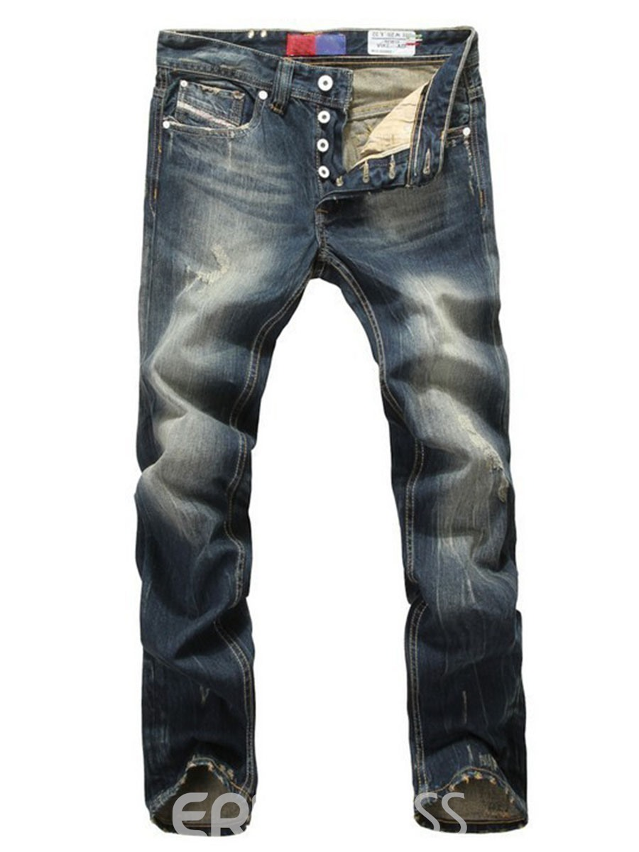 Ericdress Regular Straight Vintage Casual Mens Jeans