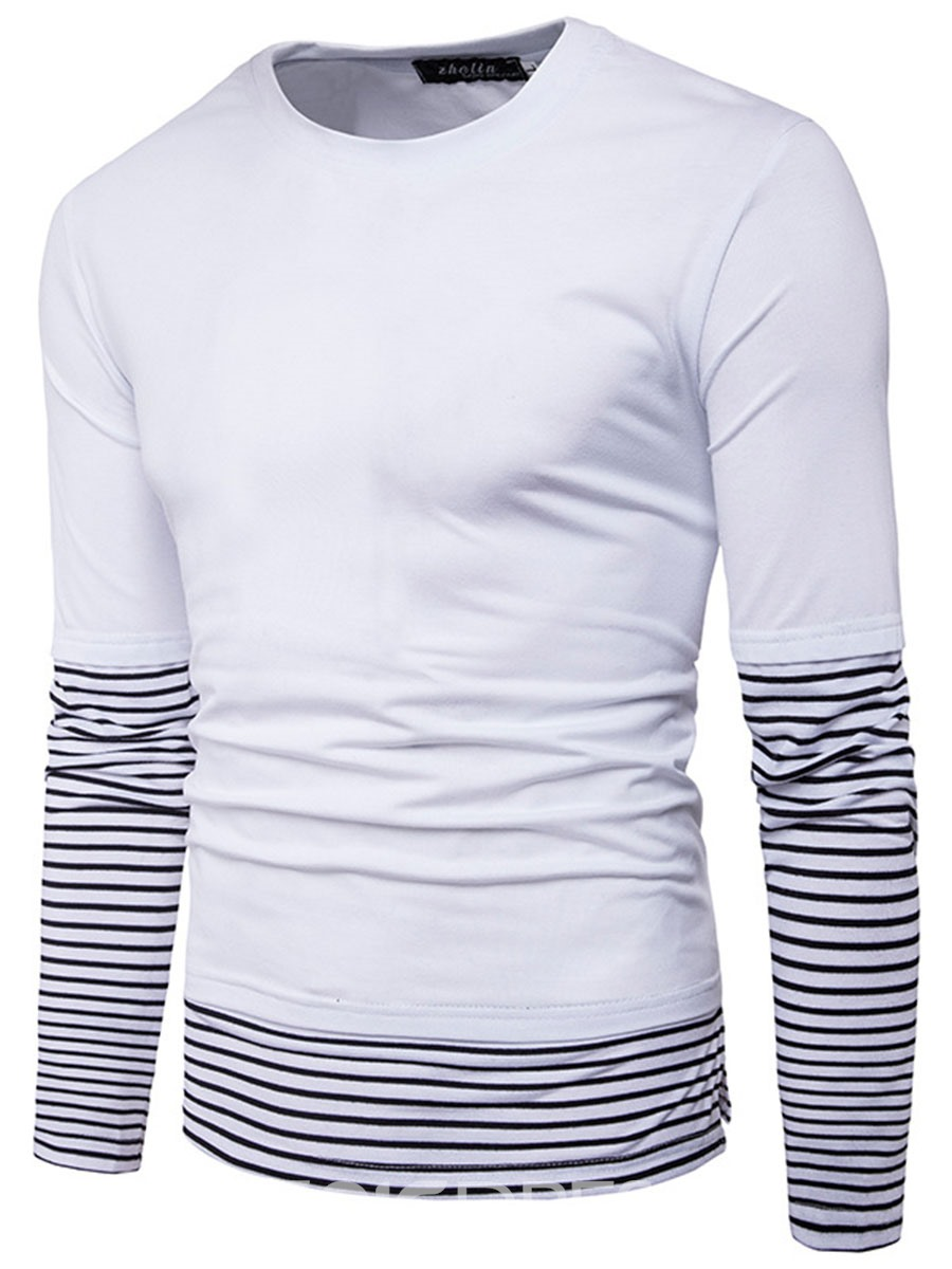Ericdress Crew Neck Patched Double-Breasted Men's T-Shirt
