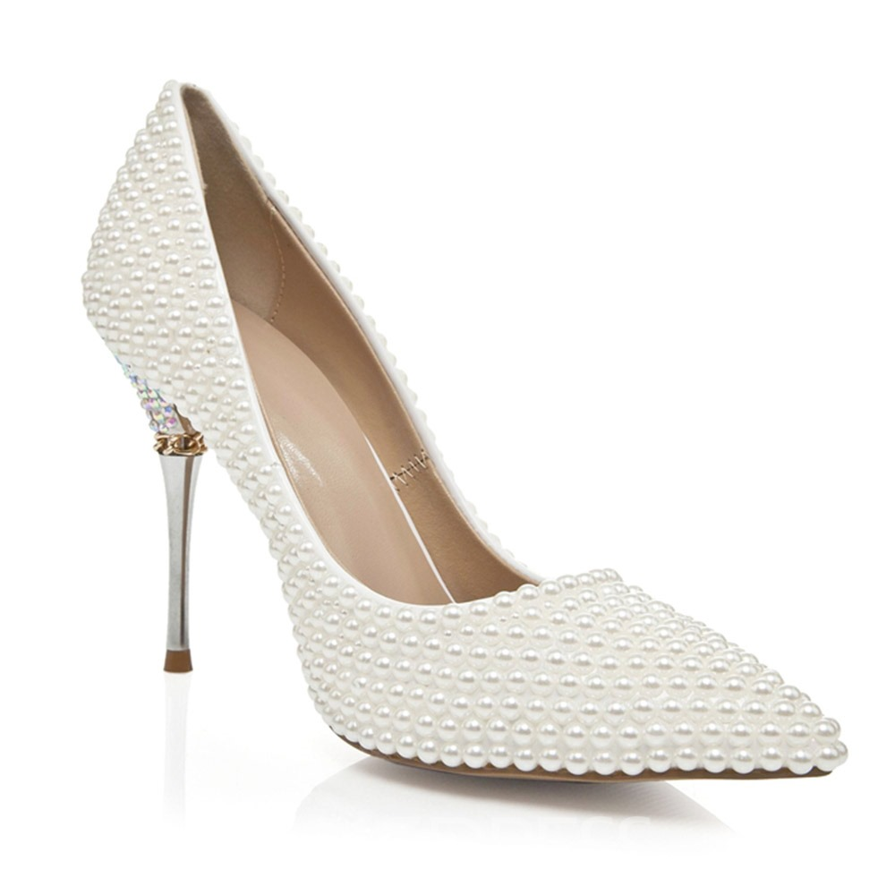 Ericdress Plain Slip-On Stiletto Heel Wedding Shoes with Beads