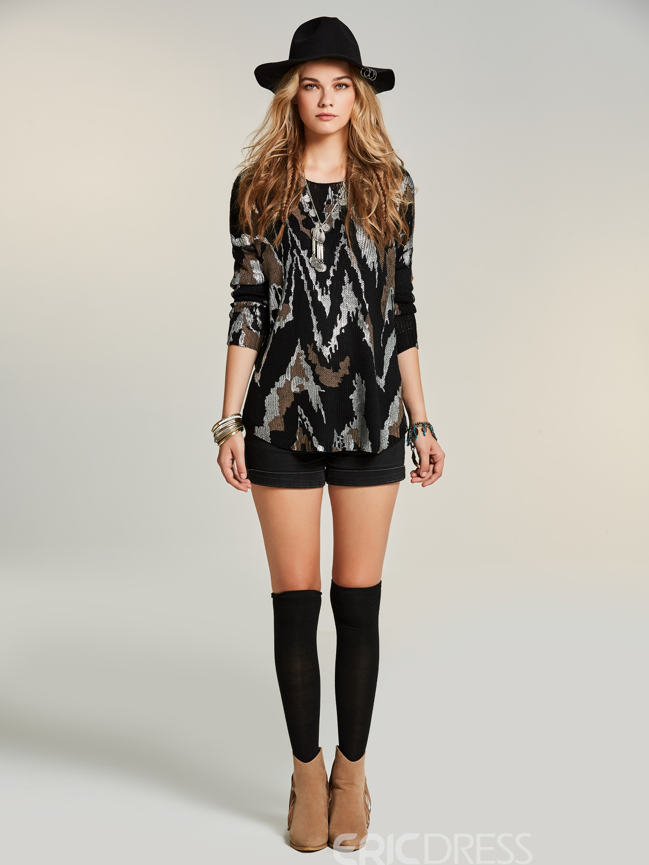 Ericdress Geometric Mid-Length Pullover Knitwear