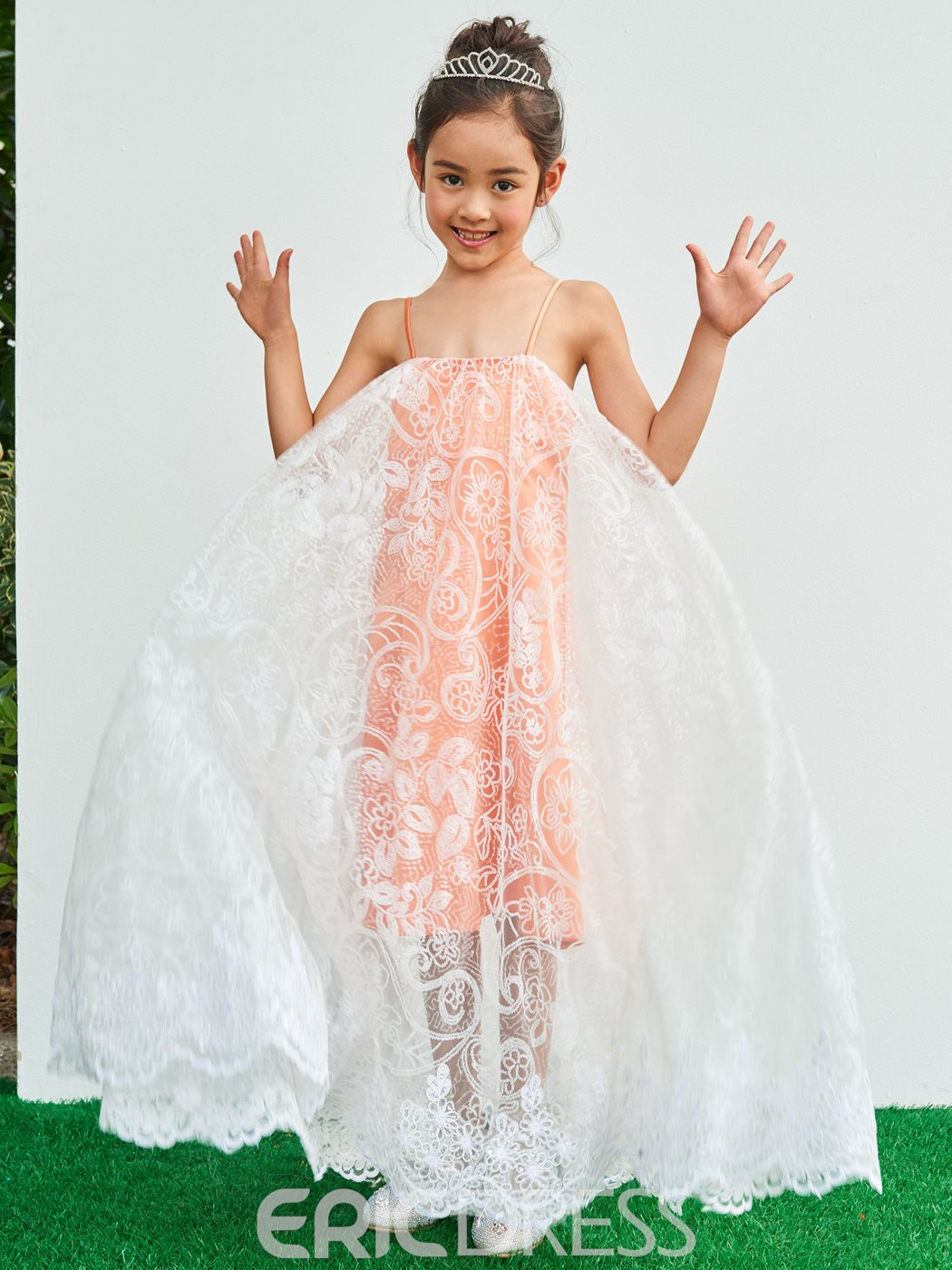 Ericdress Spaghetti Straps Lace A Line Flower Girl Party Dress