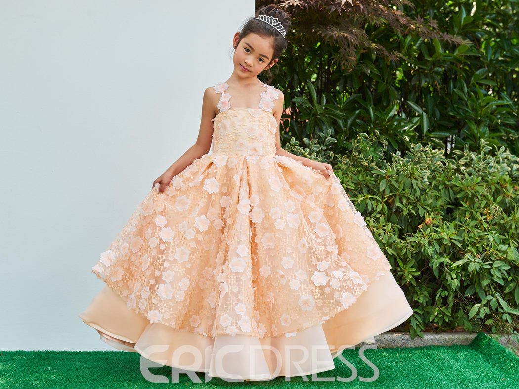 Ericdress Straps Lace A Line Ankle Length Flower Girl Party Dress