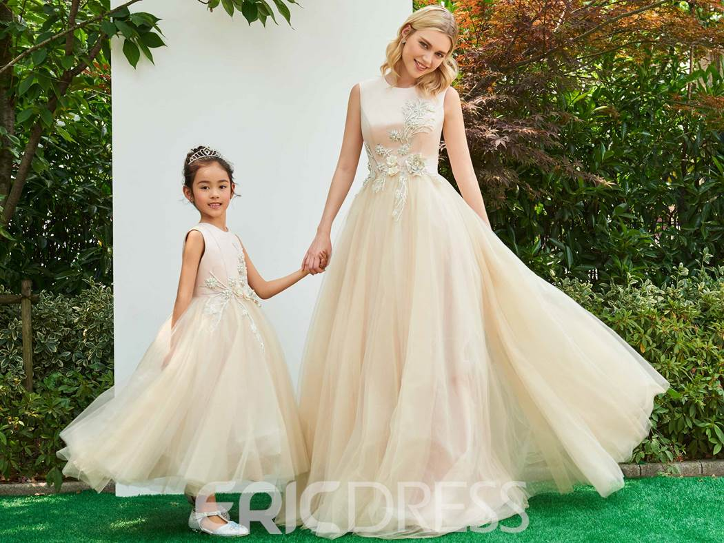 Ericdress Scoop Neck Applique Breaded Parent-Child Evening Dress