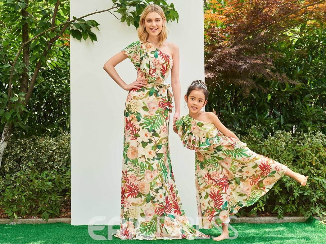 Ericdress One Shoulder Floral Print Chiffon Parent-Child Evening Dress