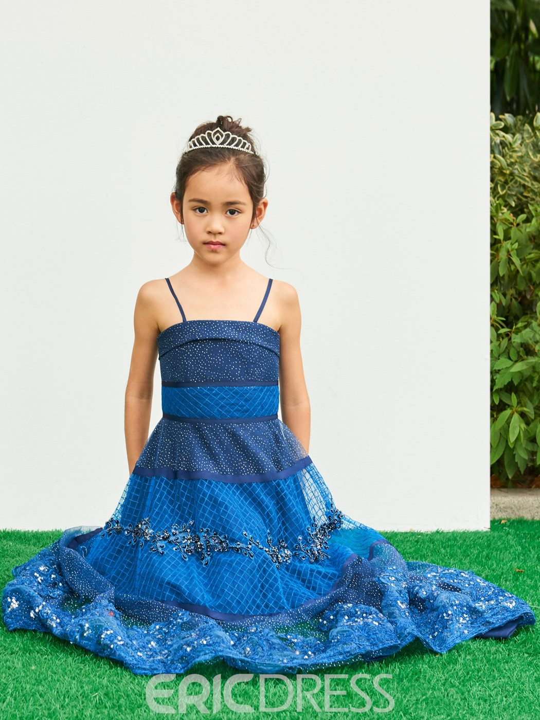 Ericdress Spaghetti Straps Lace A Line Appliques Flower Girl Party Dress