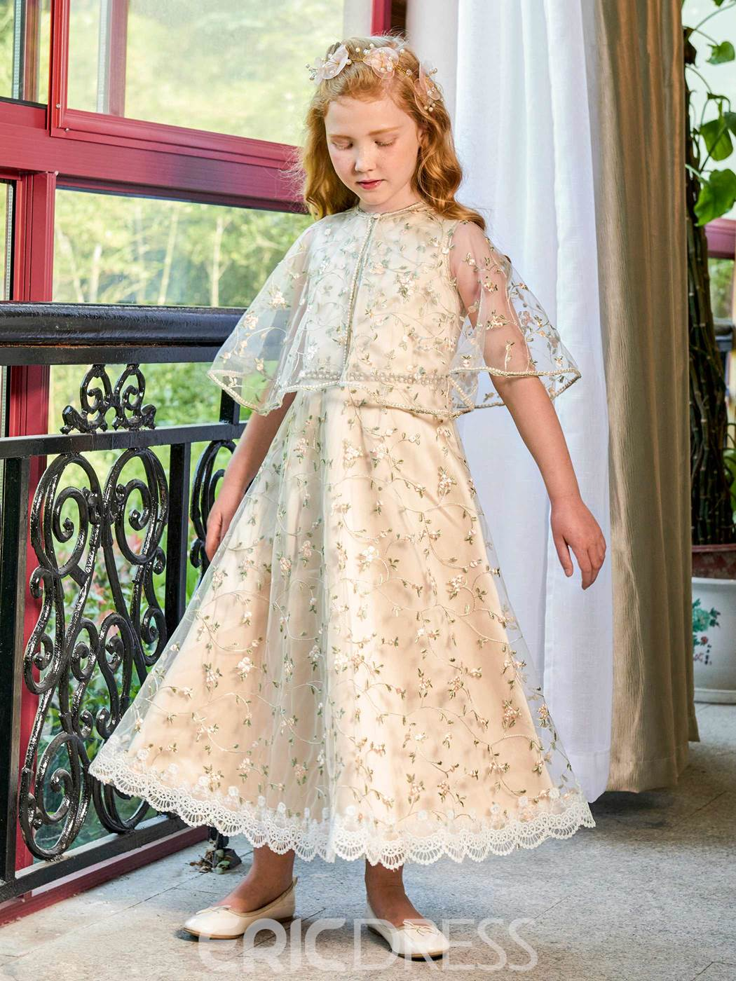 Ericdress Jewel A Line Lace Ankle Length Flower Girl Party Dress