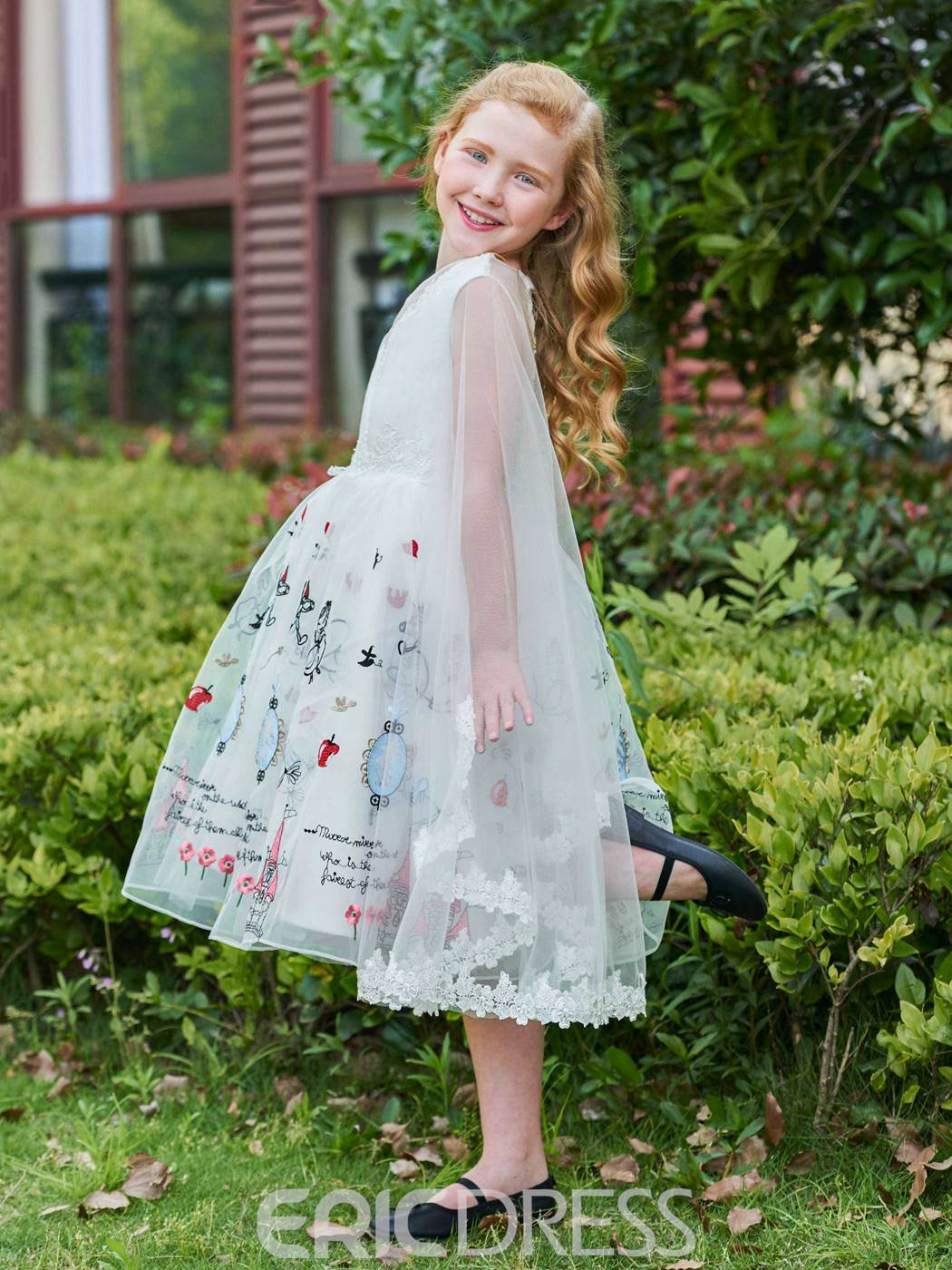 Ericdress Embroidery Appliques Tea-Length Girl Party Dress