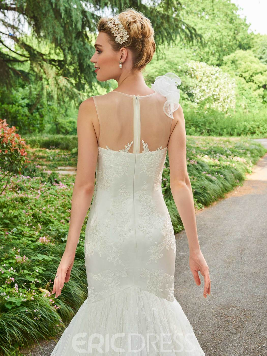 Ericdress Scoop Mermaid Appliques Court Train Wedding Dress