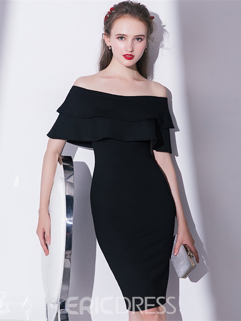 Ericdress Sheath Off The Shoulder Knee Length Cocktail Dress