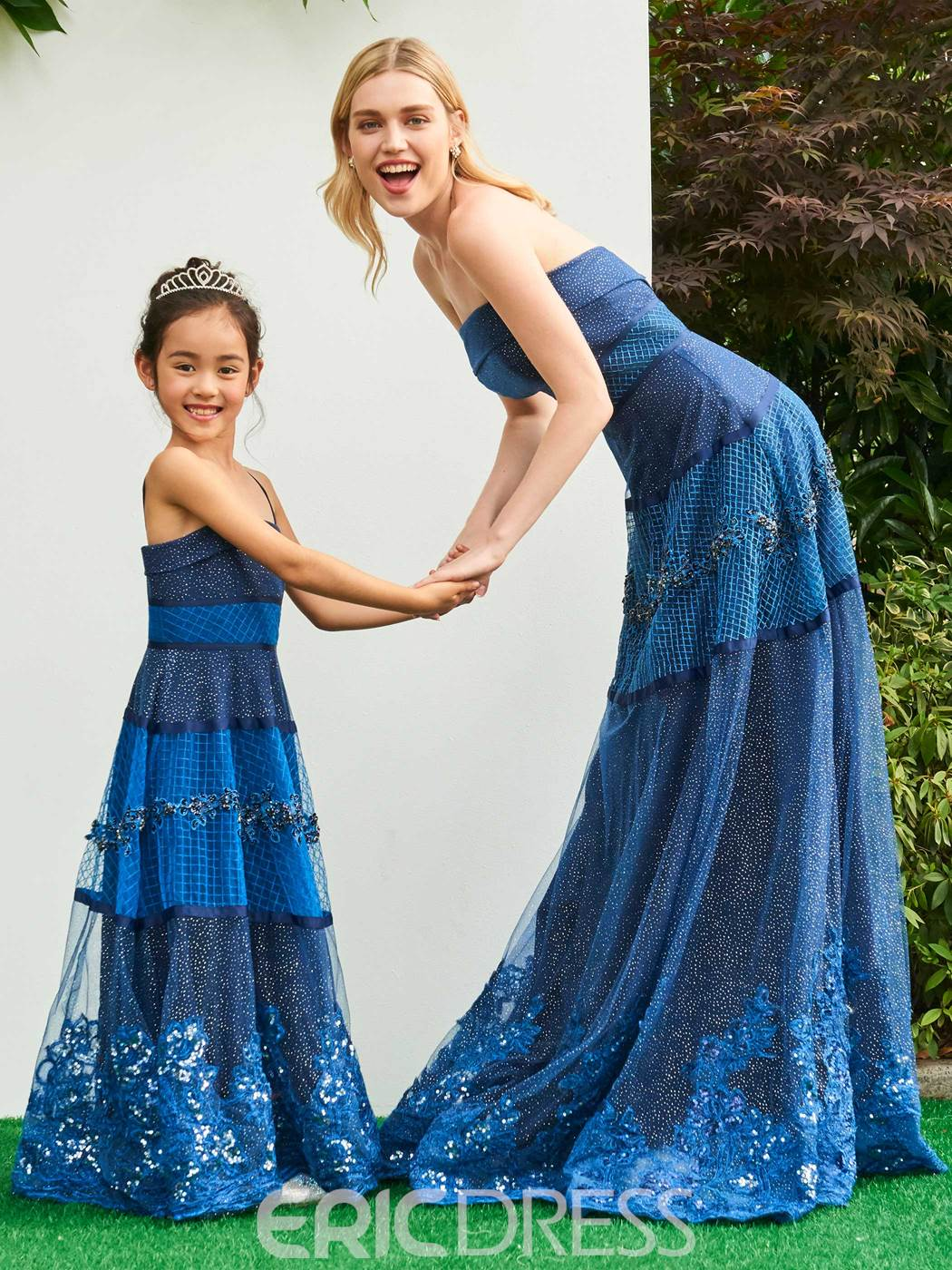 Ericdress A Line Strapless Applique Beaded Long Parent-Child Evening Dress