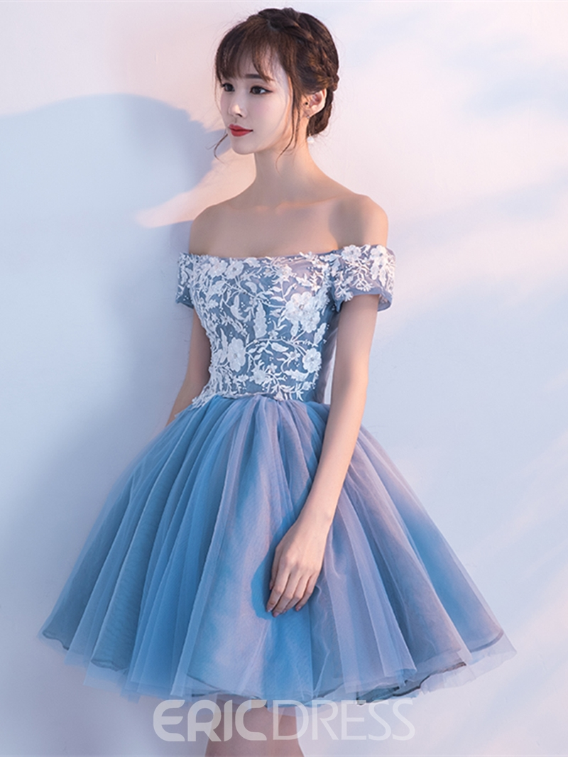 Ericdress Off The Shoulder Applique Short Homecoming Dress