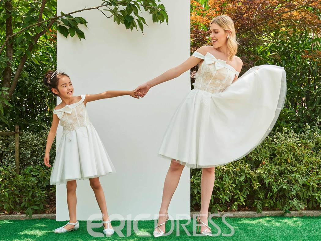 Ericdress Off The Shoulder A Line Knee Length Flower Girl Dress