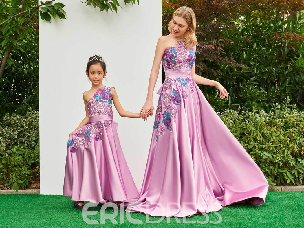 Ericdress A Line One Shoulder Applique Child-Parent Evening Dress