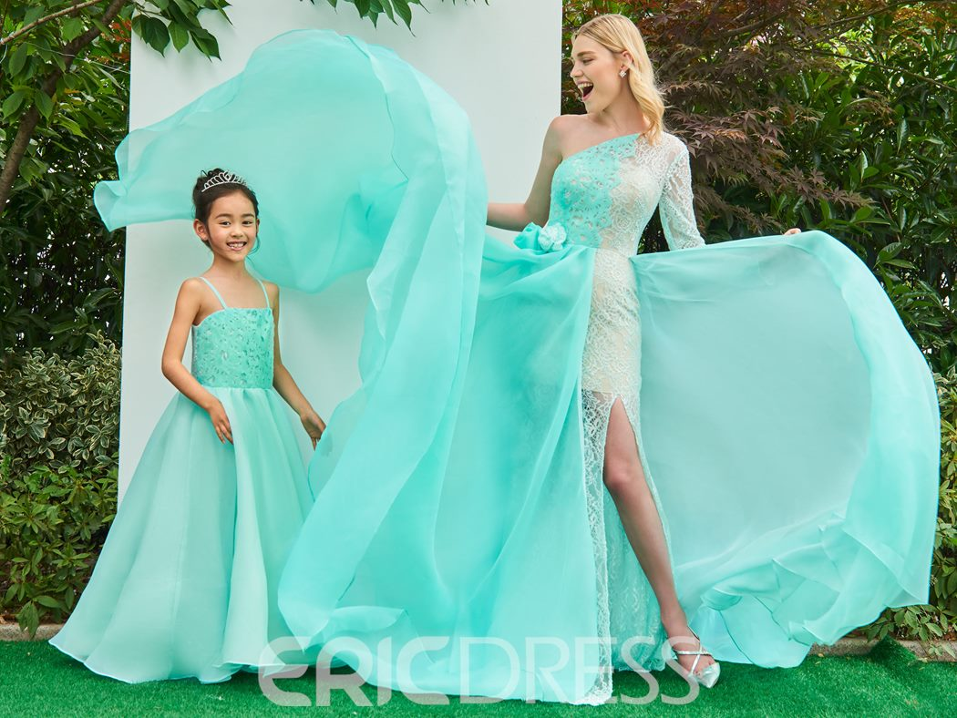 Ericdress A Line One Shoulder Parent-Child Evening Dress With Long Sleeve