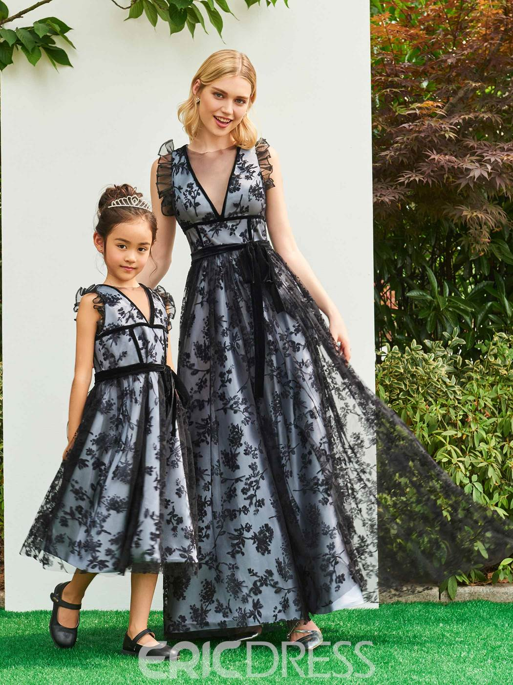 Ericdress Jewel A Line Tea Length Lace Flower Girl Party Dress