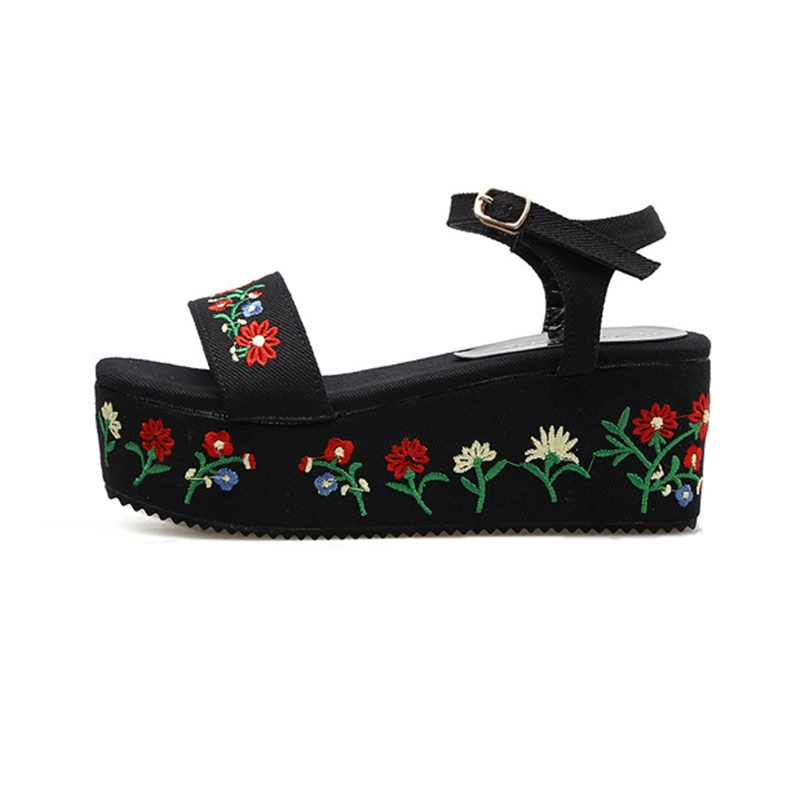 Ericdress Floral Embroidery Platform Wedge Sandals