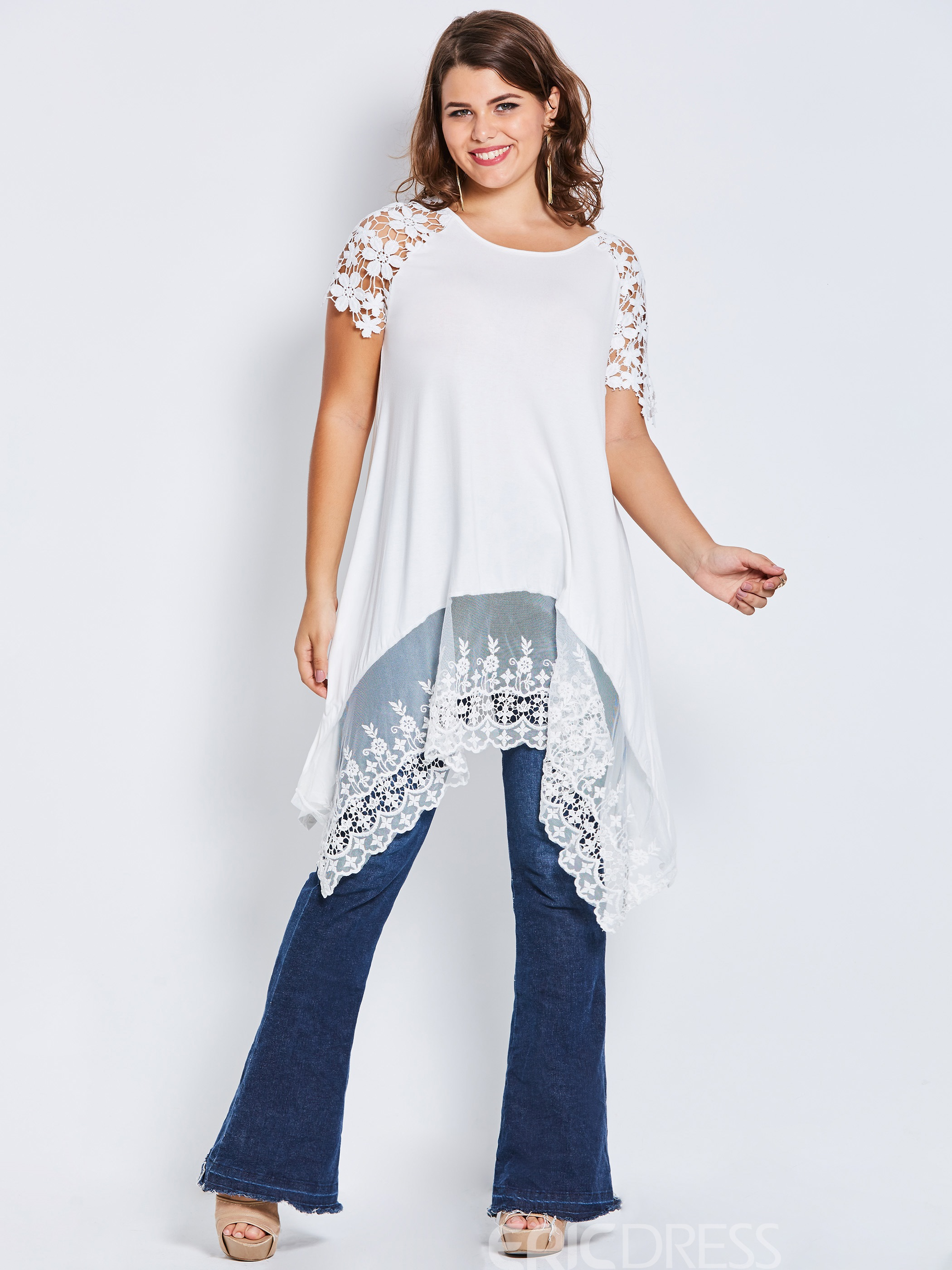 Ericdress Plus-Size Lace Mid-Length Tee Plus-Size Shirt