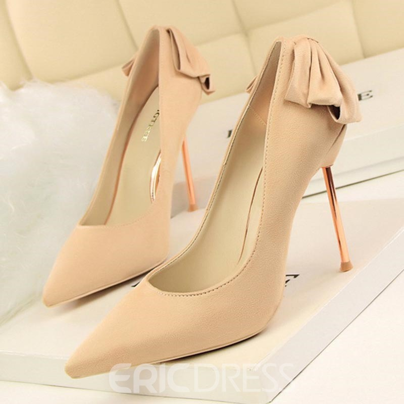 Ericdress Suede Pointed Toe Plain Stiletto Heel Pumps