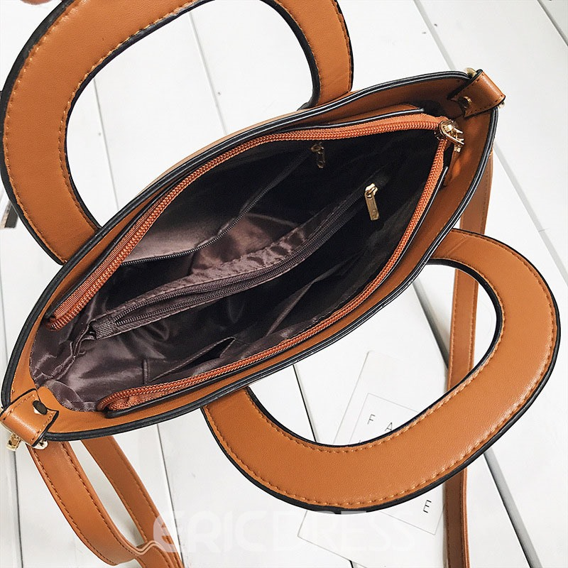 Ericdress Versatile Color BlockBarrel-Shaped Handbag