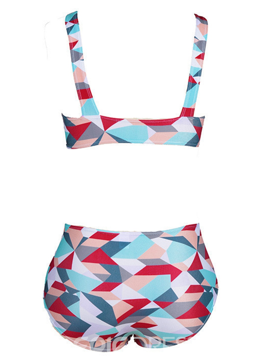 Ericdress High Waist Geometric Print Vest Type Bikini Set