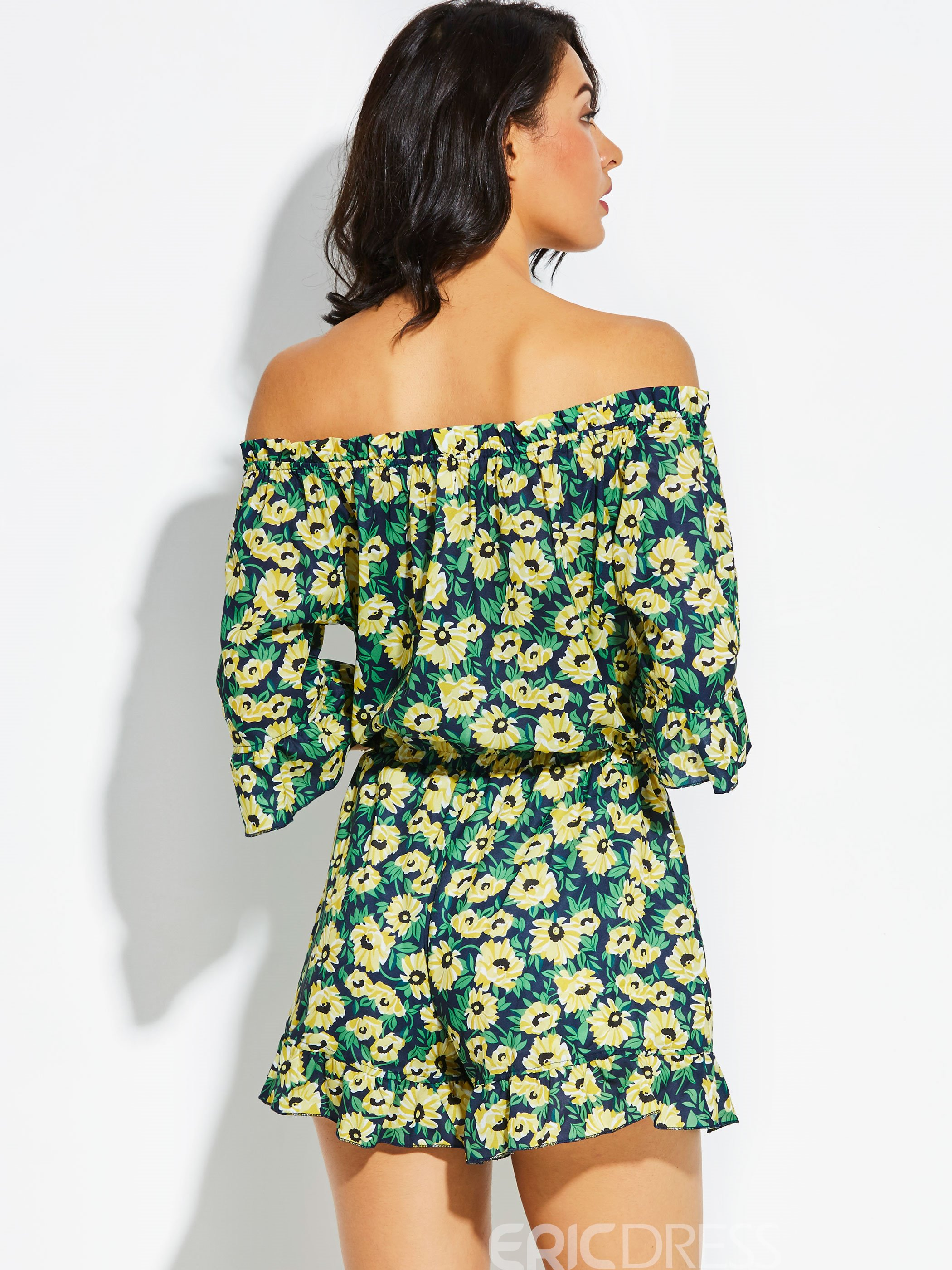 Slim Flower Print loose Women's Jumpsuit